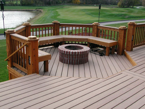 Michigan trex decks pictures down home construction Deck fireplace designs
